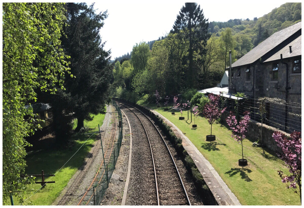The view from the footbridge at Betws Y Coed station