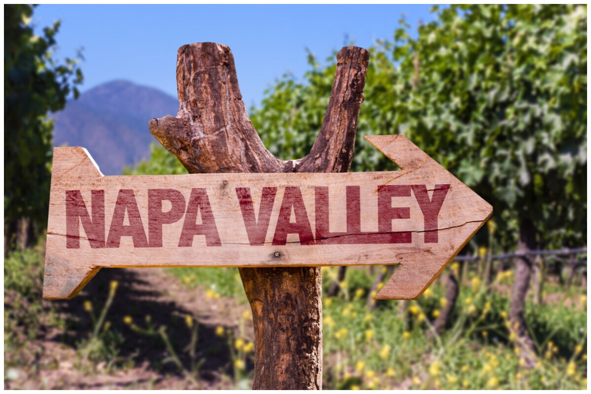 An arrow pointing to Napa Valley with grapevines in the background