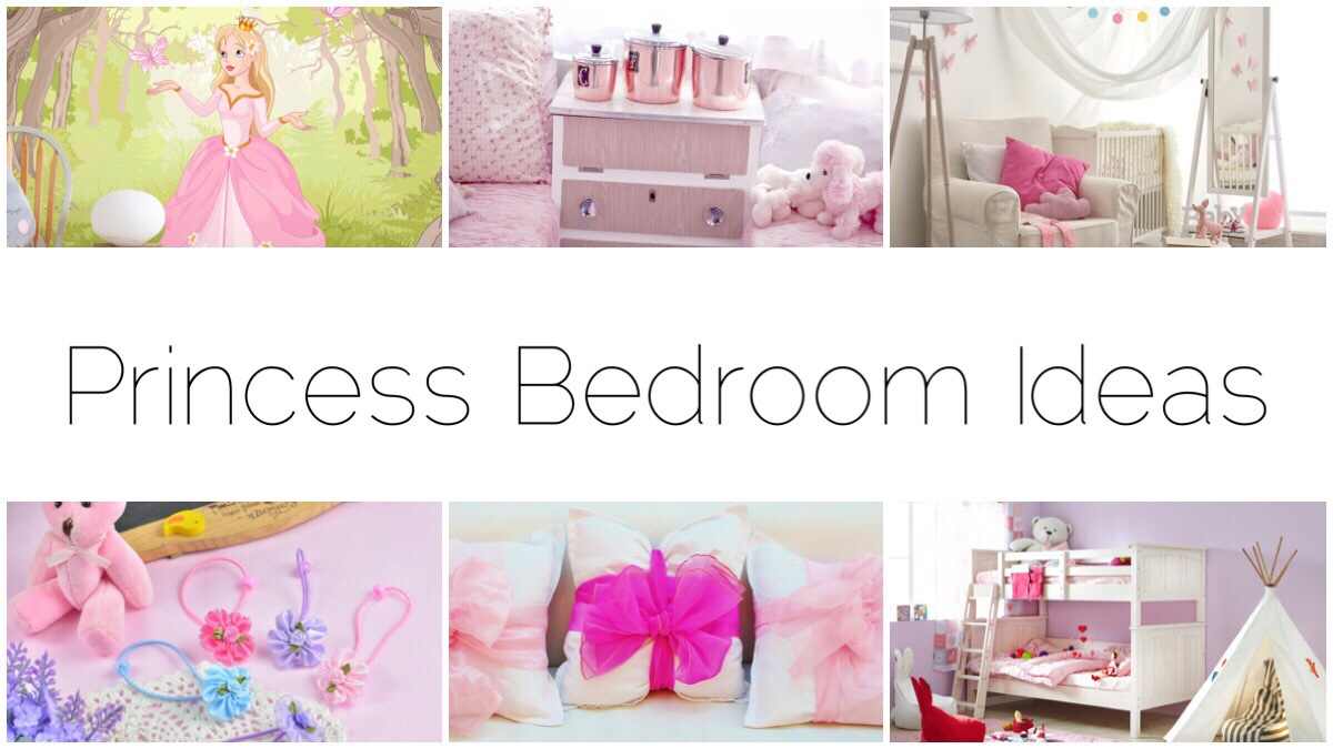 Six different pastel pink images of girl's bedroom ideas