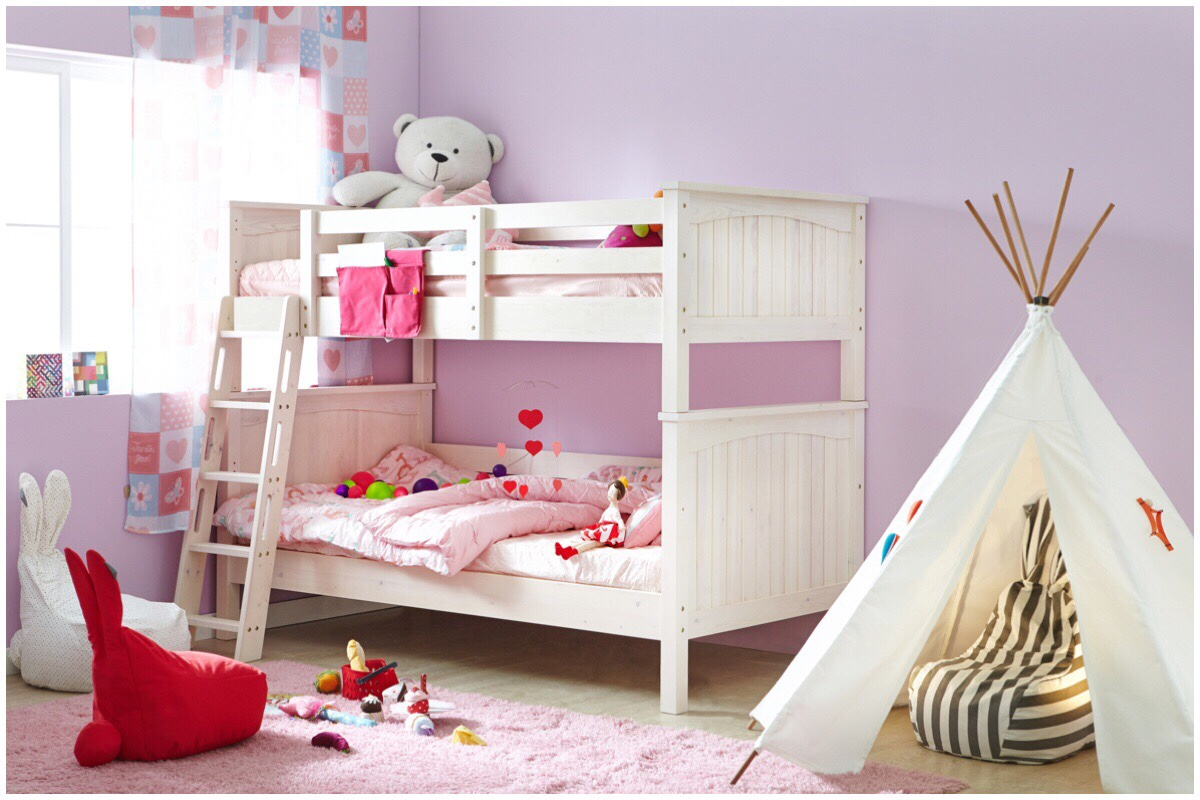 Girls bedroom with pink walls, white bunk bed, and teepee