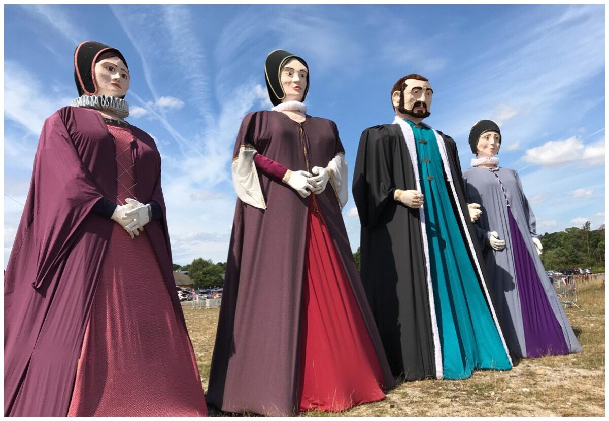 The Elizabethean/Jacobean giant puppets at Knowsley Safari Park