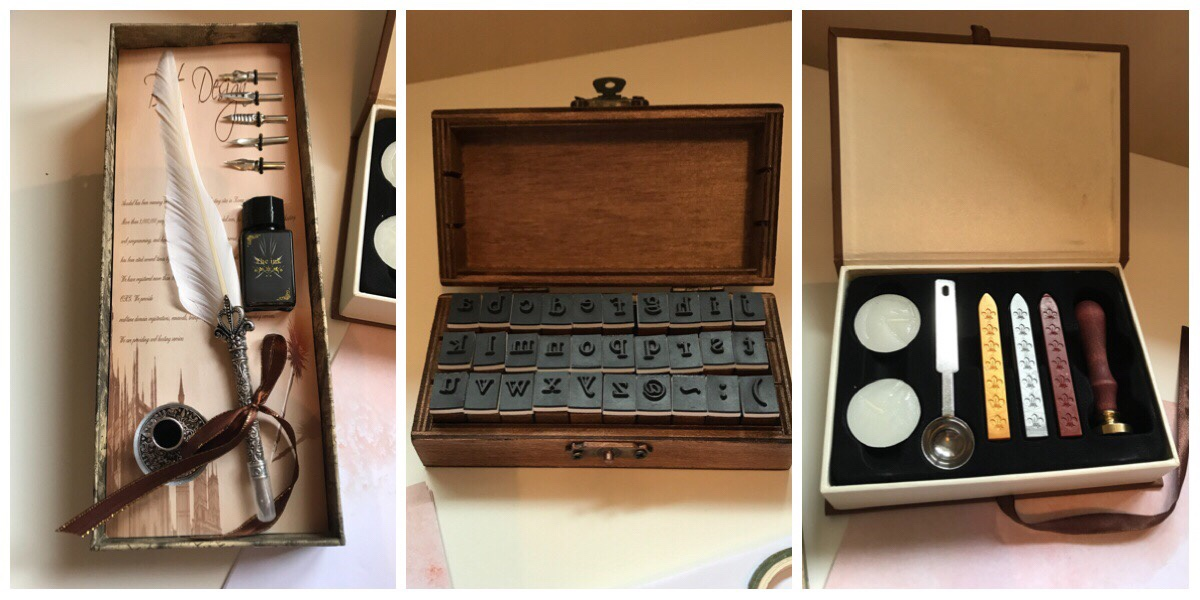 Three images of the Viking stationery box including the quill sey, the mini stampers and the wax seal set