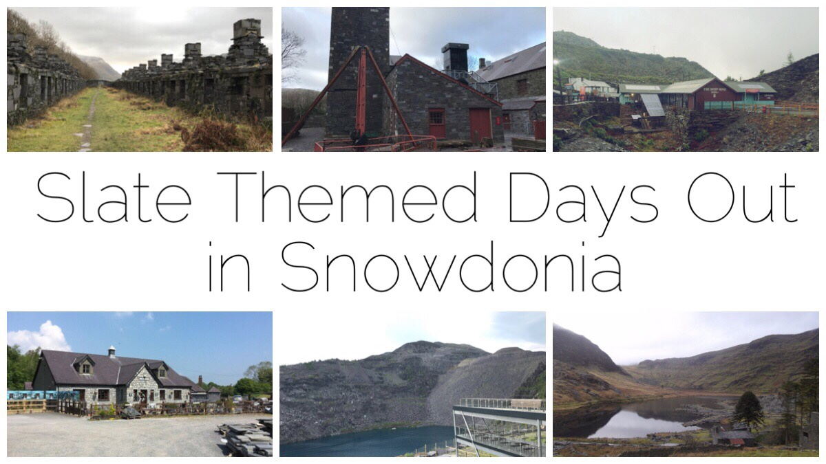 Slate Themed Days Out in Snowdonia - six small thumbnails of different slate scenes areound Snowdonia