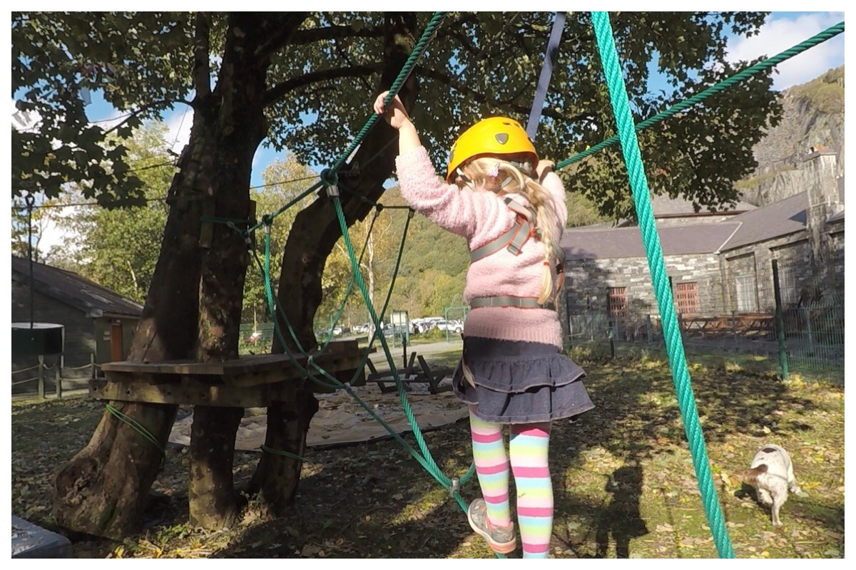 Little Miss on the Low Ropes course.