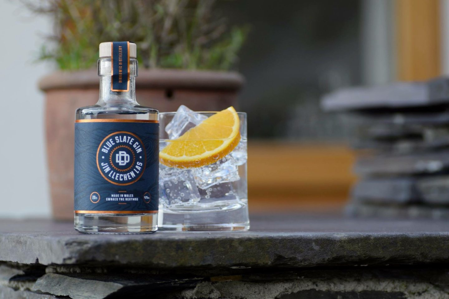 Photo of a Blue Slate Gin with a glass next to it
