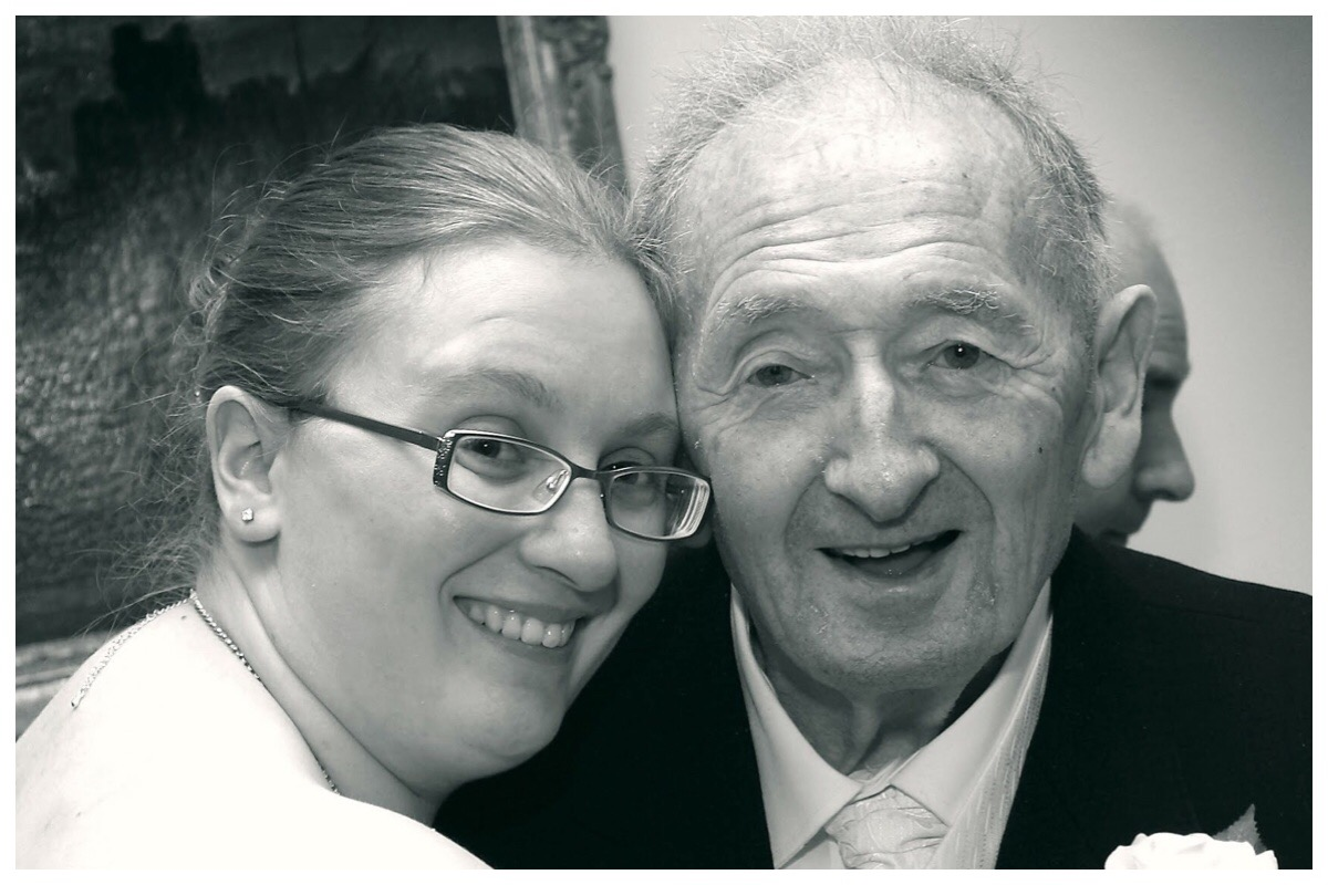 A black and white photo of me and Taid at my wedding in 2012
