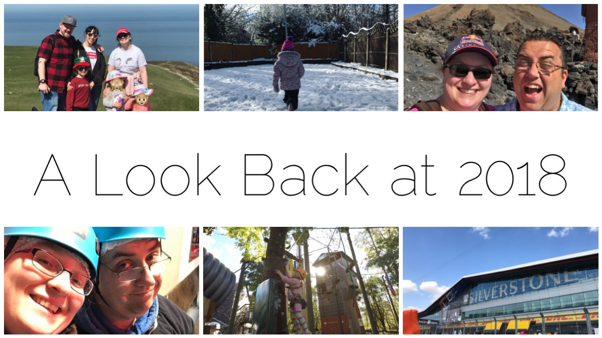 Various images of us from the year including us with David & Donetta in Llandudno, my eldest walking through the snow during the BEast from the East, us at Mount Teide Tenerife, us ready to go trampolining at Bounce Below, my eldest at Ropeworks in Llanberis and a photo of Silverstone during the British GP