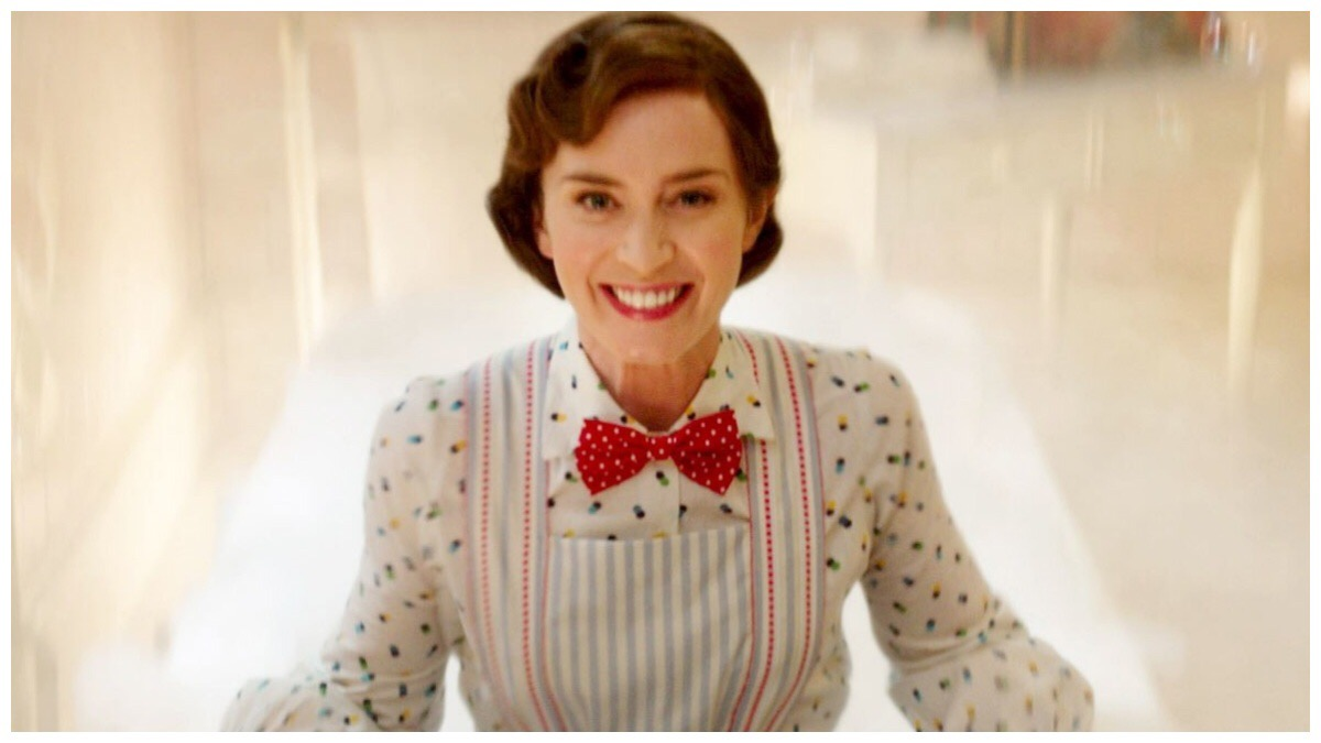 A smiling Emily Blunt as Mary Poppins