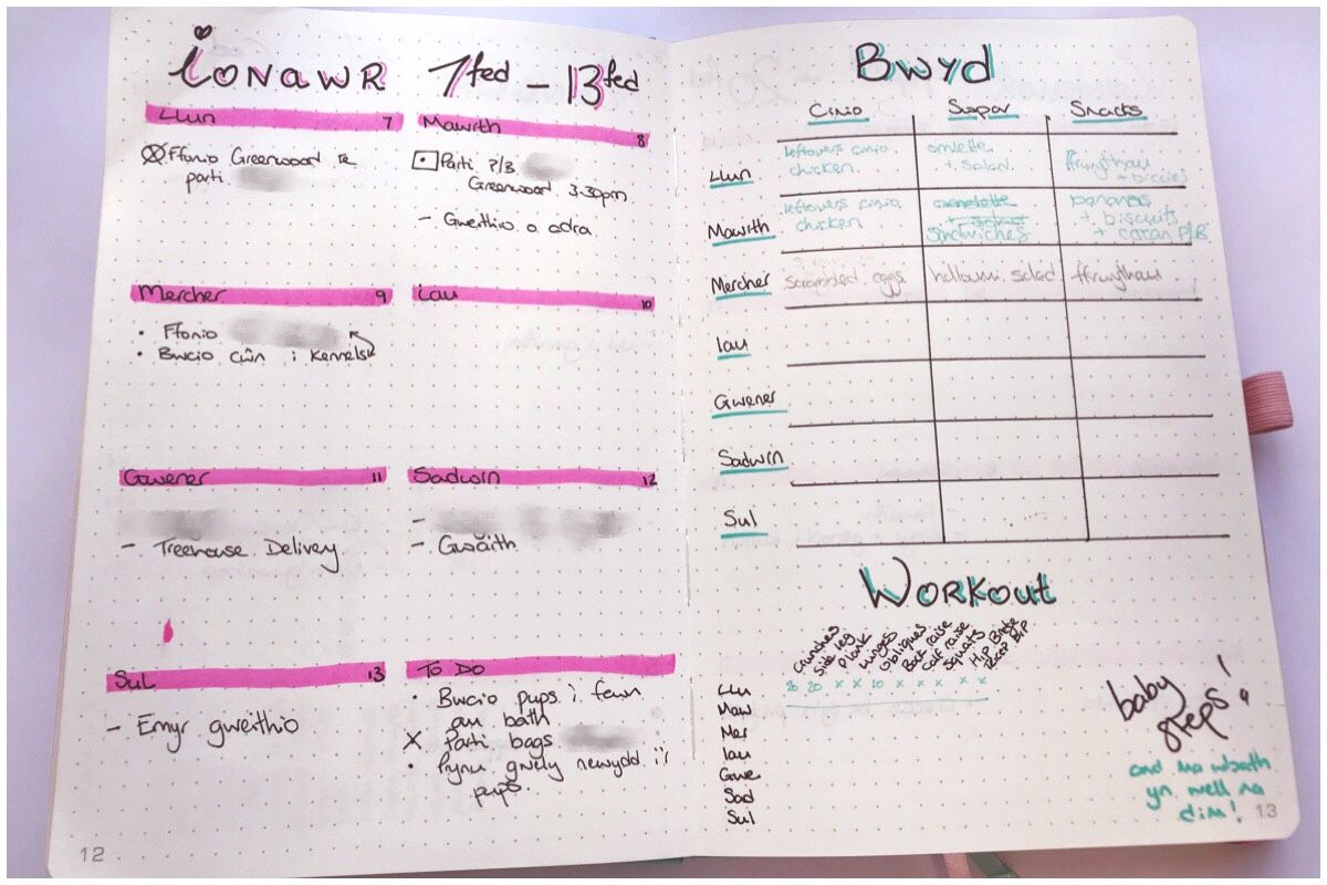 My bullet journal showing my weekly spread of appointments on the left and my meal tracker and workout tracker on the right
