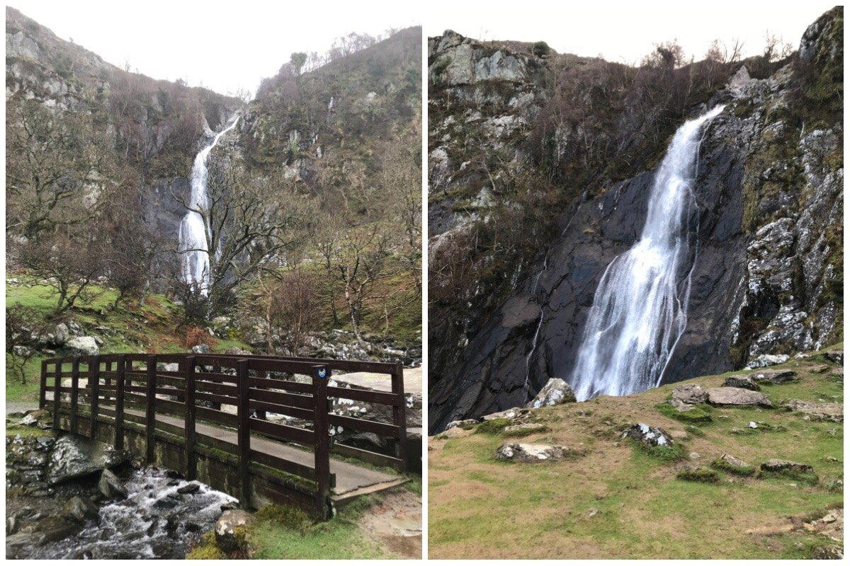 Two shots of Aber Falls - on the left the falls in the background and the bridge in the foreground. On the right the falls from our little picnic ledge
