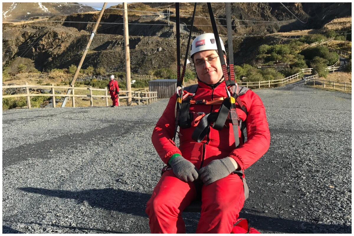 My husband on Zipworld Titan - wearing his fancy red boiler suit!