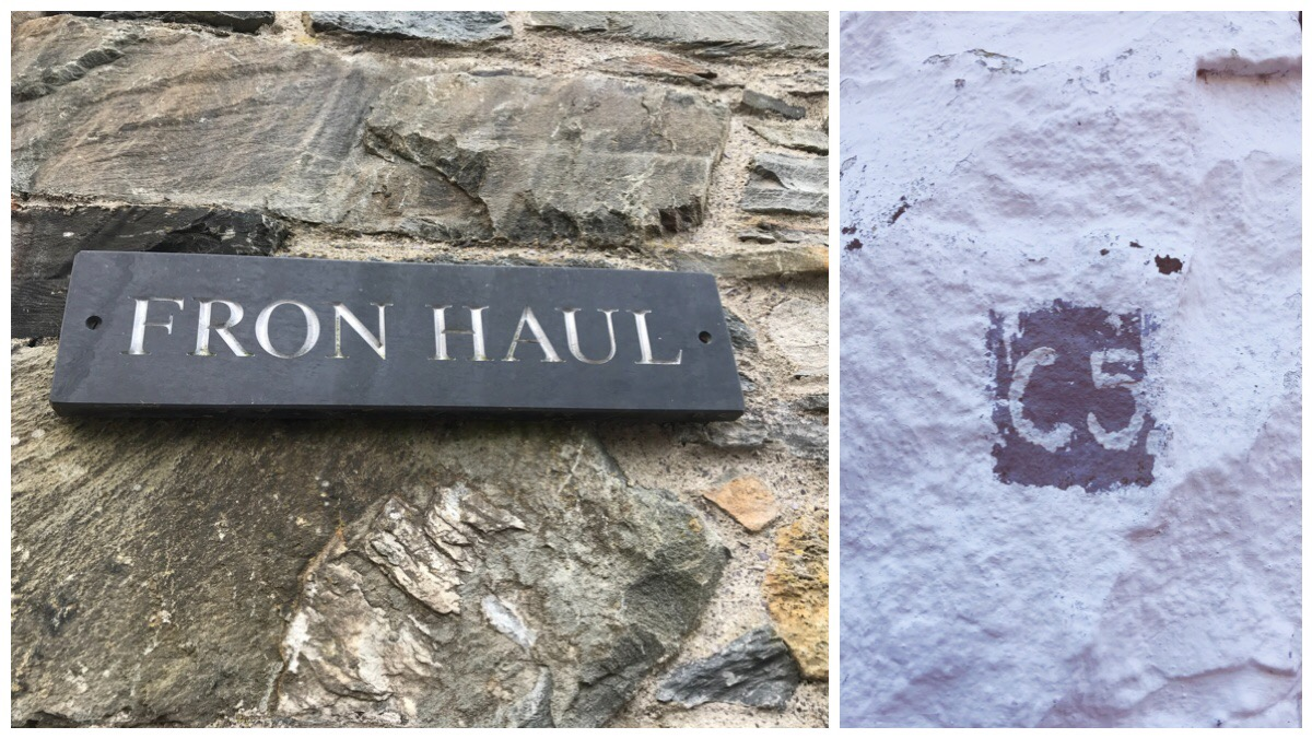 On the left is a photo of the Fron Haul sign and on the right is the numbering on the stones