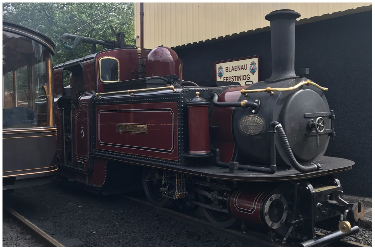Merddin Emrys a double fairlie steam engine at Blaenau Ffestiniog station