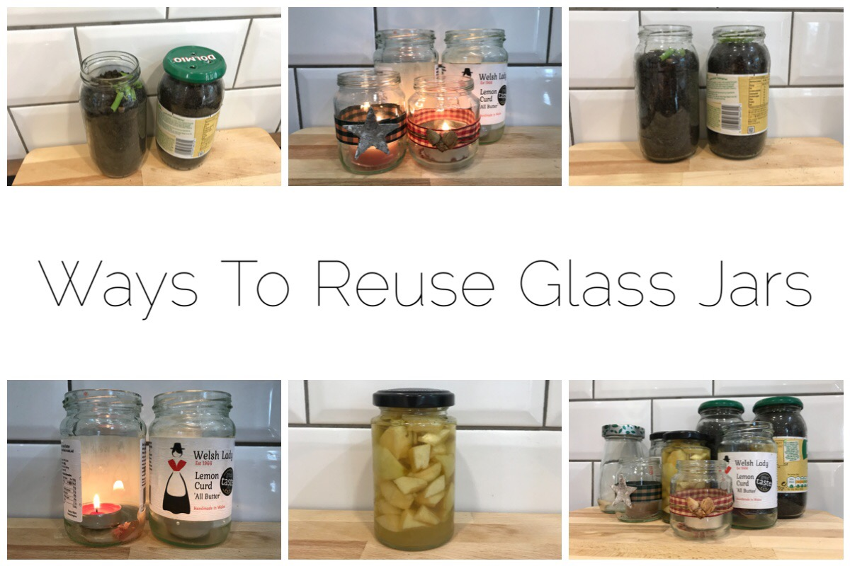 Six images of glass jars being reused