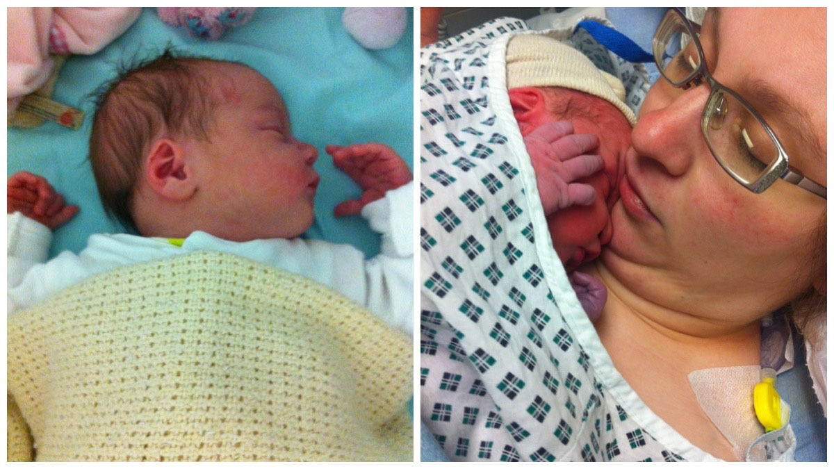 On the left a photo of my newborn asleep in the hospital cot / on the right a photo of me holding her