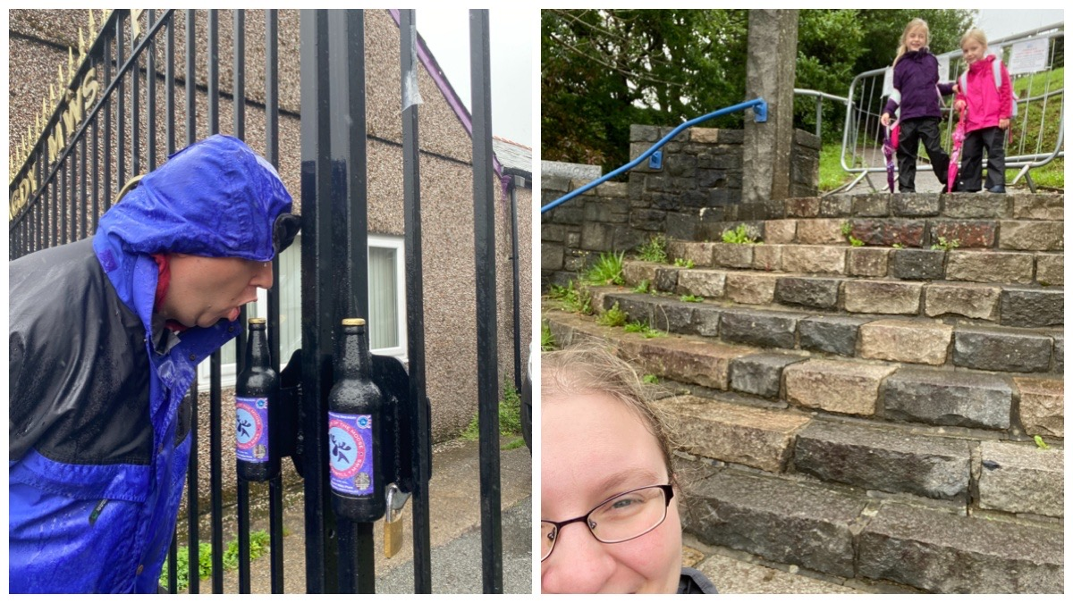 On the left - the husband pretending to take a swig from the gates of Purple Moose Brewery / On the right me in foreground and the littles in background on the steps of Bryn Coffa