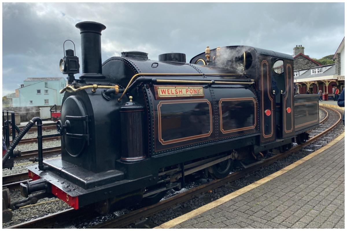 Ffestiniog & Welsh Highland Railways' locomotive Welsh Pony at Harbour Station, Porthmadog