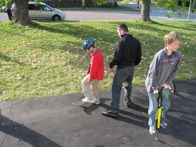 Skateboard lessons from cousin Pat