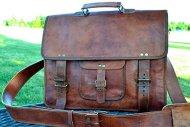 51uD9SKWxPL - PL 16 Inch Vintage Leather Messenger Bag Briefcase / Fits upto 15.6 Inch Laptop