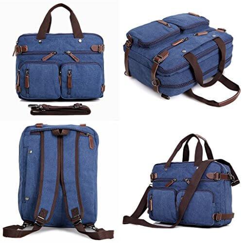 5197KT8HNsL - Clean Vintage Laptop Backpack Messenger Bag-Hybrid Briefcase Backpack Vintage BookBag Rucksack Satchel - Waxed Canvas