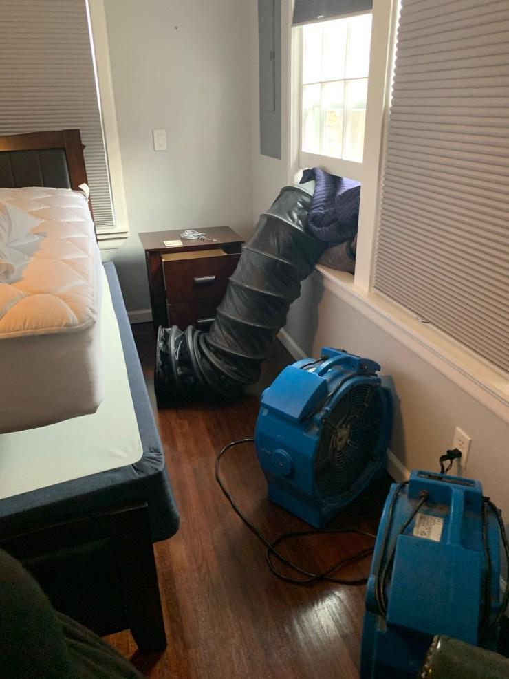 Bed bug heat treatment inside Tulsa OK bedroom.