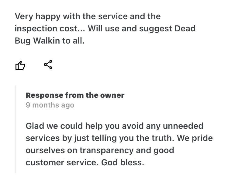 , Testimonials (Reviews), Dead Bug Walkin LLC