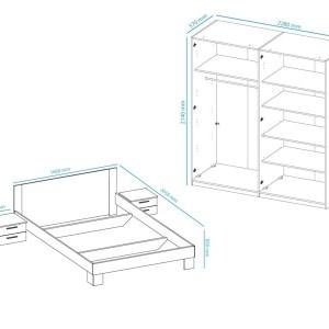 Complete slaapkamer VERO 160x200 cm grijze wit/carbon