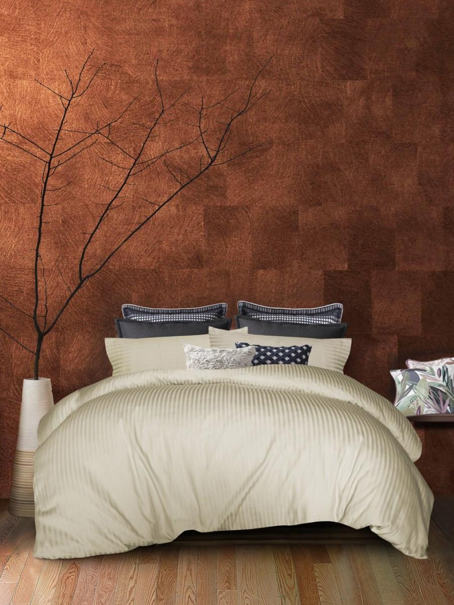 1000TC Cotton 3Pcs Quilt Cover Broad Stripe - Ivory