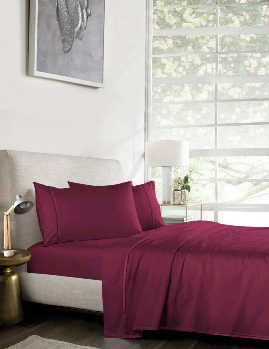 1000TC Pure Egyptian Cotton Sheet Set – Dark Pink