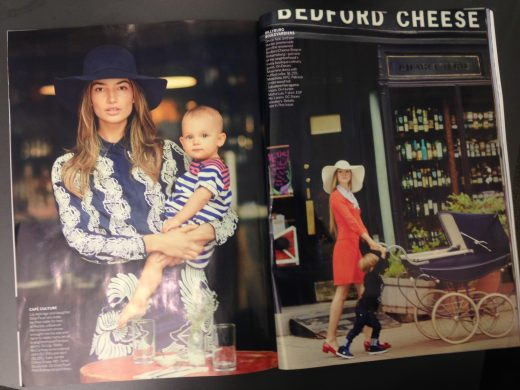 This month's issue of Vogue also includes a Brooklyn-themed fashion spread featuring Devon Aoki (right) outside of the Bedford Cheese Shop.