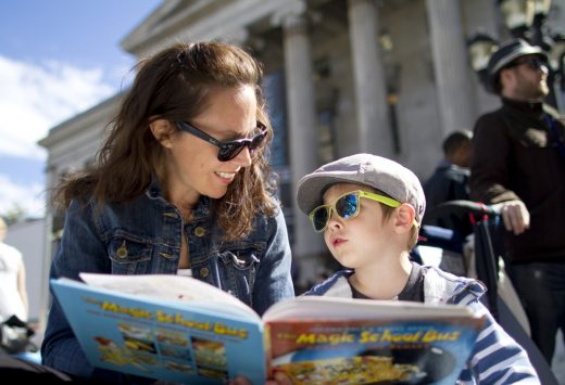Kristin Henderson reads a story with her son Griffin at a previous Brooklyn Book Fest (Photo: Meghan White)