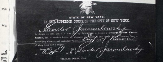 Sender Jarmulowsky's naturalization papers, 1876.