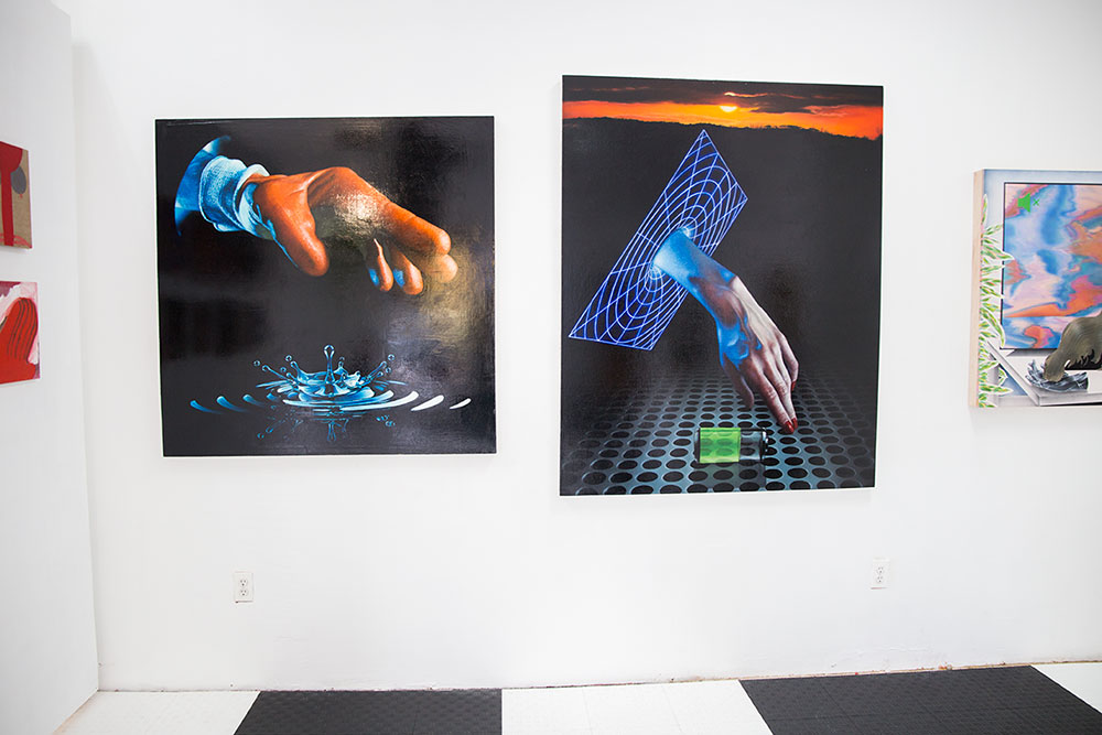 """Paintings by Tyler Thacker, left: """"De Chirico Wormhole,"""" right: """"All-Nighter,"""" 2016 (Photo: Nicole Disser)"""