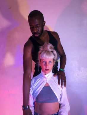 Sigrid Lauren, choreographer, and Jerome Bwire, installation artist (photo: Signe Pierce)