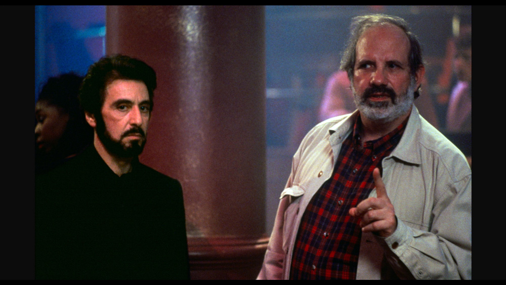 De Palma and Pacino on set of Carlito's Way, as seen in De Palma.  (Courtesy of A24.)
