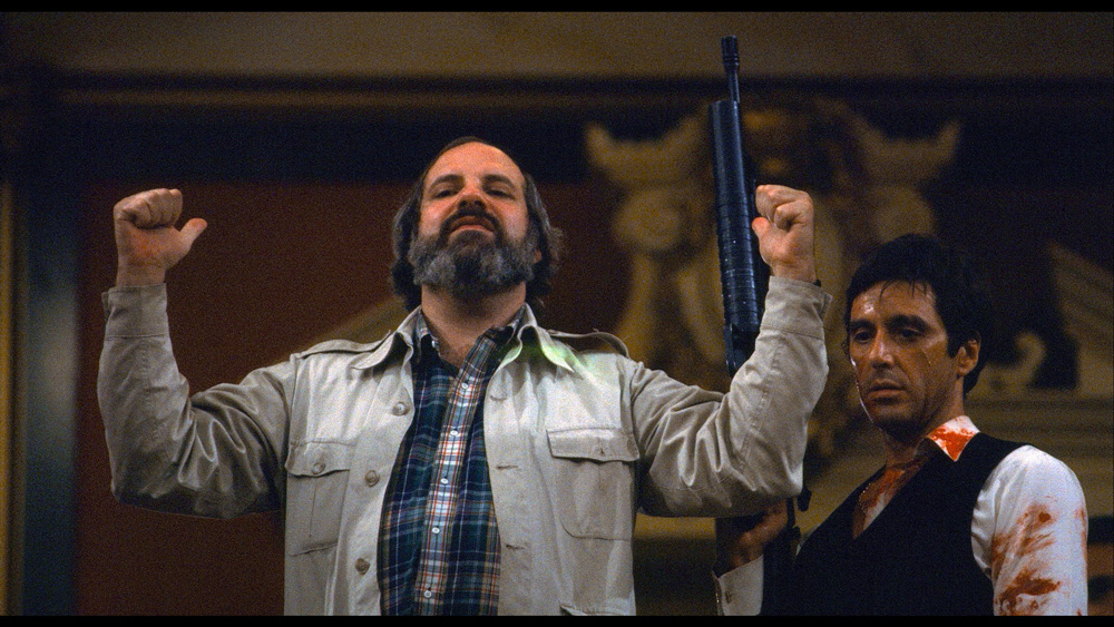 De Palma and Pacino on set of Scarface as seen in De Palma.  (Courtesy of A24.)