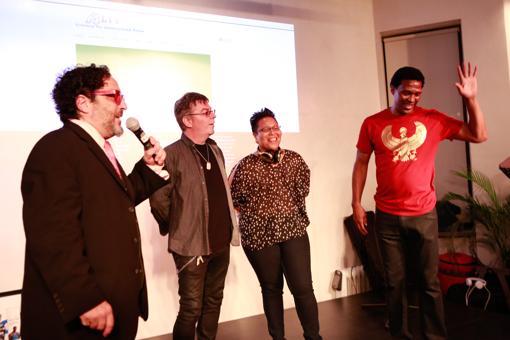 L-R: Robert Galinsky, Andy Rourke, DJ CherishTheLuv, Keith Shocklee (photo: Shaun Mader)