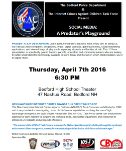 "*Update* Bedford Police Move ""Social Media: A Predator's Playground"" to Thursday Due to Inclement Weather"