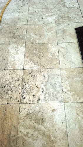 Travertine Tiles Before Cleaning at Cranfield University