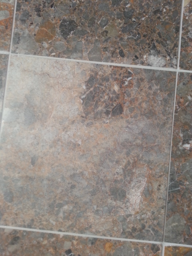 Terrazzo Tiles Etched With Vinegar Before Restoration