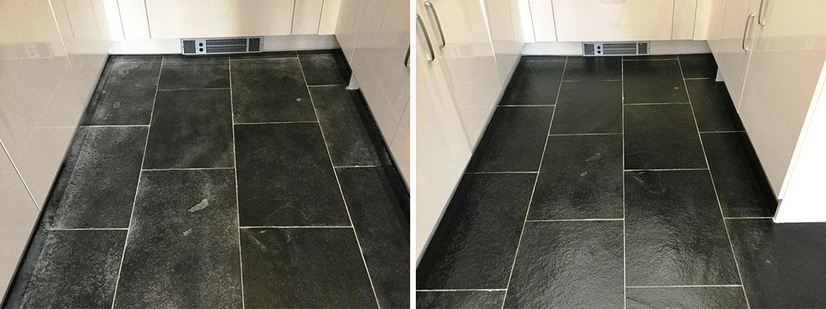 black limestone floor in wixams