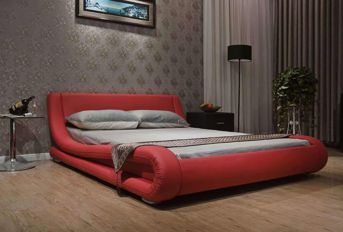 Greatime Black Contemporary Upholstered Bed Bed Frame