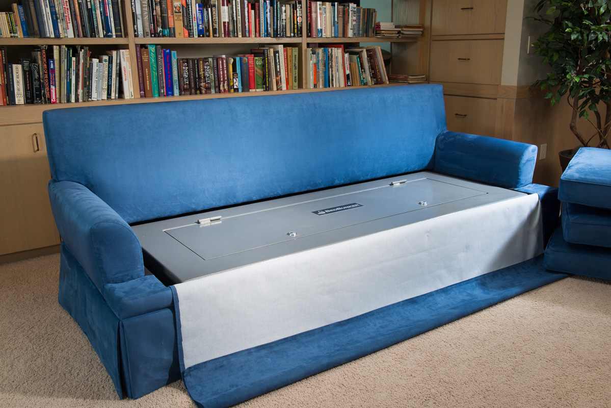 sofa gun safe mission sectional couch bunker and hidden furniture bedbunker safes 2616 closed exposed