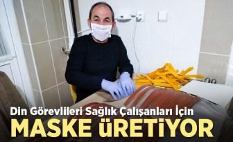 Din görevlileri sağlık çalışanları için maske üretiyor