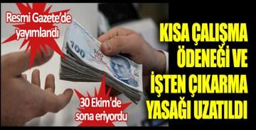 Resmi Gazete'de yayımlandı. Kısa çalışma ödeneği ve işten çıkarma yasağı uzatıldı