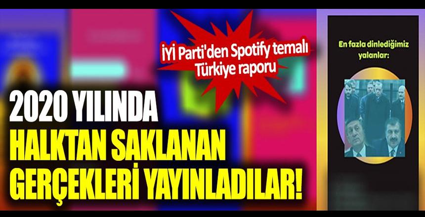 2020 yılında halktan saklanan gerçekleri yayınladılar! İYİ Parti'den Spotify temalı Türkiye raporu