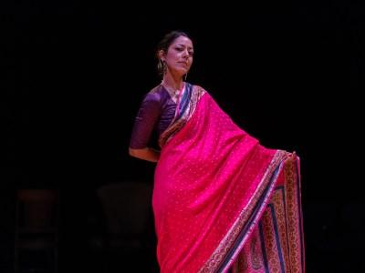 An actress in the spotlight wearing an Indian sari