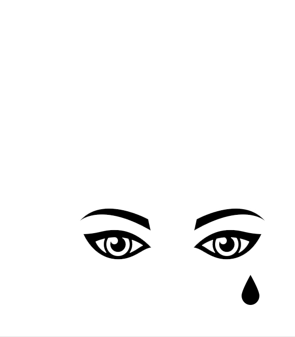 Hedda Gabler benefit reading poster with silhouette of eye and a tear