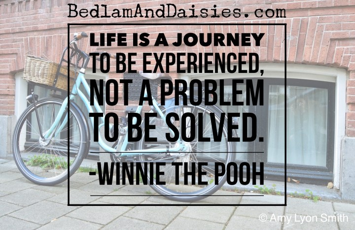 Life is a journey to be experience, not a problem to be solved. -Winnie the Pooh
