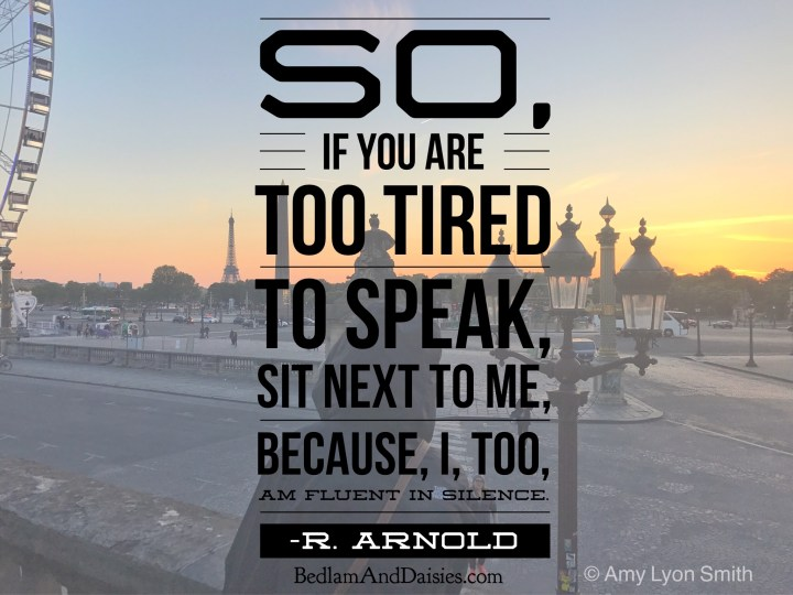So, if you are too tired to speak, sit next to me, because, I, too, am fluent in silence. -R. Arnold